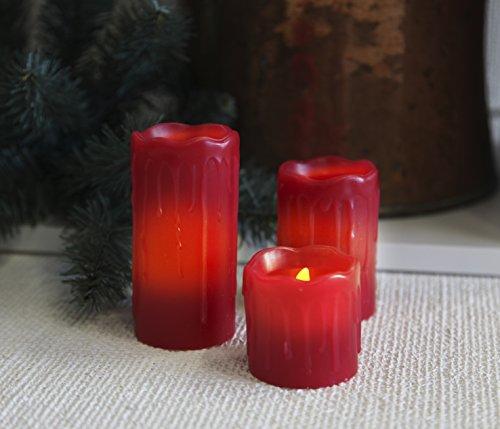 Star LED Velas Bombilla con visión (Cera, centelleante, Blanco cálido LED, funciona con pilas (cartón, 3unidades 5/7/10x 5cm, Rojo 067–89