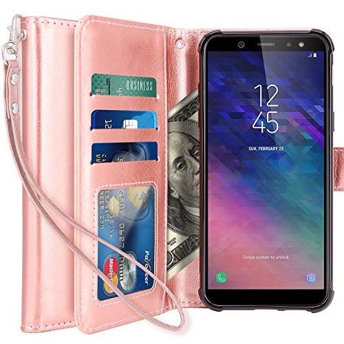 K&L LK Hülle für Galaxy A6 Plus 2018, LK Luxus PU Leder Brieftasche Flip Case Cover Schütz Hülle Abdeckung Ledertasche für Samsung Galaxy A6 Plus 2018 (Rose Gold)