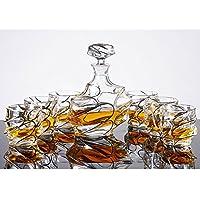 Juego de vasos de whisky de cristal sin plomo, vasos de vino, botellas de vino + 6 tazas, apto para la marca, whisky, Agave, Vodka y otros vinos
