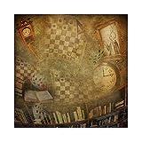 YongFoto 2x2m Vinyl Foto Hintergrund Retro gelbes Foto Bücherregal Uhr Kartenspielen Fotografie Hintergrund Partydekoration Fotostudio Hintergründe Fotoshooting