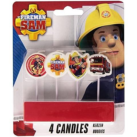 4 Mini-vela * Fireman Sam * empanada en los titulares de madera para las velas del partido y la torta de cumpleaños // Departamento vela decoración fuego Bombero Bombero