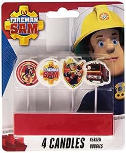 Amscan - 998165 - 4 Bougies avec Mini Figurine Sam Le Pompier