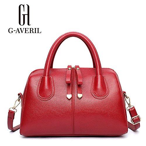(G-AVERIL) Borse In Vera Pelle Designer Top-Handle Spalla Del Tote Della Borsa Per Le Donne rosso