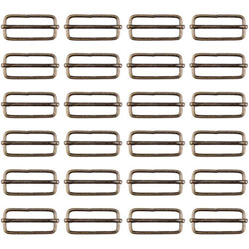 Rectangular Buckle Brass Metal Slide Bar with Adjustable Tri-Slip Buckle for Strap Fastening, 38mm (30 Package)