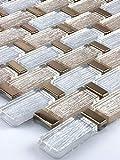 Bador Glasmosaik Fliesen Mosaikfliesen Glasfliesen Mosaik Glas Gold, Silber 30x30