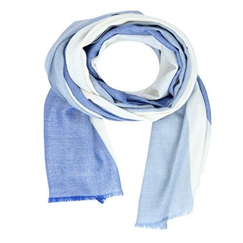 KASHFAB Kashmir Frauen Herren Winter Mode Streifen Schal, Wolle Seide stole, Weich Lange Schal, Warm Paschmina Blau Weiß (Stricken Streifen-schal)