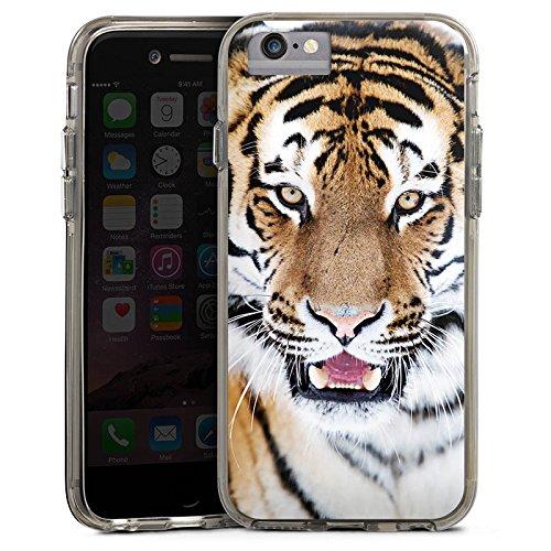 Apple iPhone 7 Bumper Hülle Bumper Case Glitzer Hülle Tiger Raubkatze Grosskatze Bumper Case transparent grau