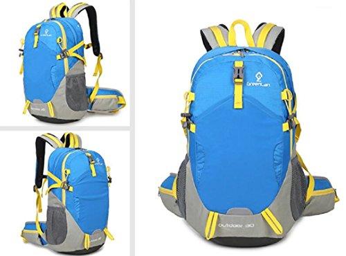 LJ&L Wasserdichte Nylon-Umhängetasche, Damen reisen 30L große Kapazität Bergsteigen Tasche, leichte Anti-Riss, verstellbaren Rucksack Light Blue