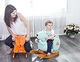 Labebe Baby hölzernes Schaukelpferd Blaues Eichhörnchen / Hund, Jungen & Mädchen Kleinkind SchaukelnReiten-auf Spielzeug für 1-3 Jahre alt, Gefüllter Tier Sitz, ASTM / CE / CE Sicherheit zertifiziert, kreatives Geburtstagsgeschenk - 3