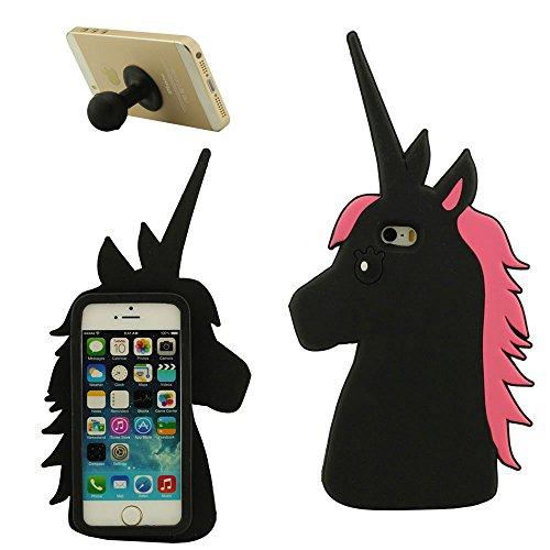 Apple iPhone 5 5S 5C SE Doux Coque Housse de Protection, Cartoon 3D Charmant Cheval Forme Soft Silicone Case x 1 Silicone Titulaire noir