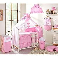 12pezzi Set di biancheria da letto per lettino, 120x 60cm, motivo: cuori rosa