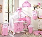 Juego de 15bebé Juego de ropa de cama para cuna 70x 140cm, diseño de corazones, color rosa - Baby Comfort - amazon.es
