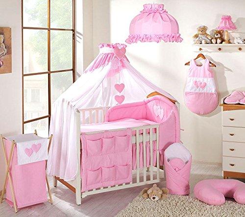 15pezzi Set di biancheria per culla, ideale per culla 120x 60cm-cuori rosa