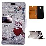 Acer Liquid Z6 Plus Hülle, PU Leder Handyhülle Portemonnaie Schutzhülle Anti-Kratzer Stoßfeste Brieftasche Hülle dünn PU Leather Gemaltes Muster Wallet Case mit Card Slots (American Cat)