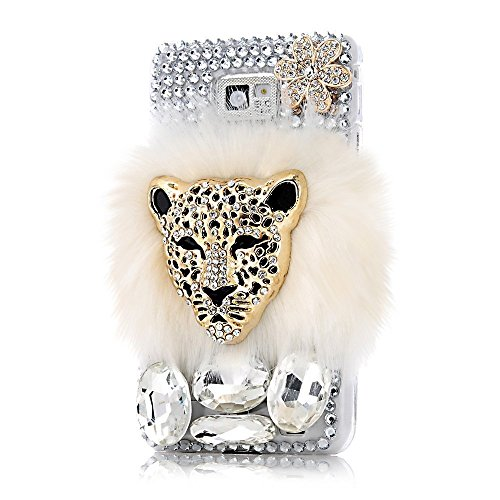 evtech (TM) Lion Bianco Pelliccia Soffice Bling Bling Diamante Strass Cristallo Gemma diamante fiori di glitter fashion style Transparency Back Cover del telefono cellulare per Samsung Galaxy Note 5 (100% a mano)...