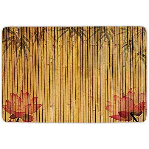 FANCYDAY Alfombrilla para baño, bambú, Tallos de bambú alineados y Siluetas de Flores y Sombra, Imagen...