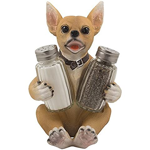 Chihuahua Puppy Dog Salt and Pepper Shaker Set Figurine with Decorative Display Stand Holder Table Centerpiece in Bar Restaurant, Dining Room & Kitchen Decor Spice Racks As Unique Gifts for Dog Lovers by Home-n-Gifts