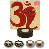 TYYC Home Decorative Candle Holders Diwali Gift Items Om Lord Ganesha Candle Tea Light Holder Set Of 5