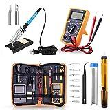 Elektrische Lötkolben Set, 60W einstellbare Temperatur Lötkolben Lötwerkzeug Kit, Schalter Handschweißpistole Schweißstift, mit Multimeter