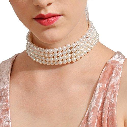 Perlenkette Halskette 1 Reihen Perle mit Anhänger Legierung Kette Einfache Stil Elegante Hals Schlüsselbein Dekoration für Strand Party Ball Weiß (Rosa Und Weißen Strand Bälle)