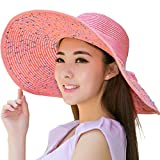 Elegante Floppy-Hut-Rosa-Hut Strohhüte für Frauen, Rosa