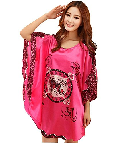 BigForest Femmes Batwing Sleeve Pullover Peignoir Satin Plus Size Pyjama robe short Rose Red