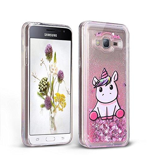 RosyHeart Cover Samsung Galaxy J3 2016 Brillantini Morbido Trasparente Cellulare Custodia Glitter Liquido Quicksand, Cristallo Silicone Unicorno Protettivo Bumper per Samsung J3 2016-Rosa