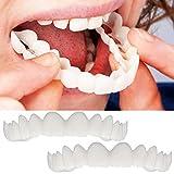 SUccess 2pcs Comfort Fit Flex Cosmetic Dents Denture Top Cosmétique,Cosmetic Teeth Sticker Colle Dentaire temporaire pour cure-Dents de Sourire Accessoire Deguisement (Taille unique, blanc)