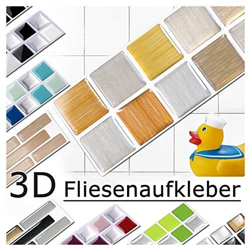 Grandora 5 Pezzi Set 25,3 x 5 cm Rame Oro Argento Adesivo per Piastrelle Design 8 I Mosaico 3D Adesivo Sticker Cucina Bagno Piastrelle Decor Piastrelle Autoadesivo W5288