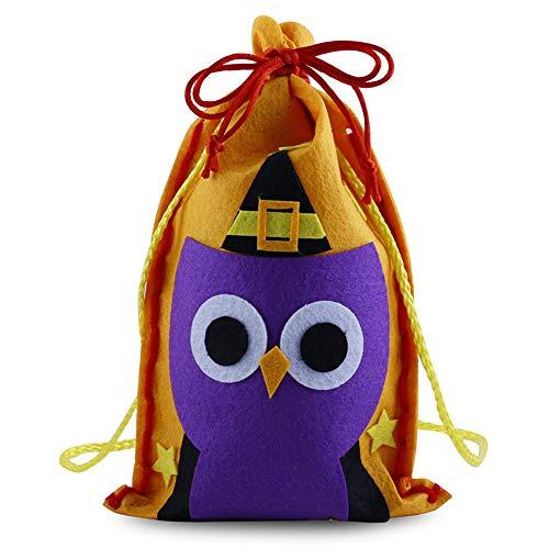 MX kingdom Halloween-Süßigkeitstasche-Kordelzug-Kinder Trick-Leckerei-Taschen Halloween-Nette Süßigkeits-Tasche, die Kinder Partei-Speicher-Beutel-Geschenk Verpackt 10 Sätze Eule