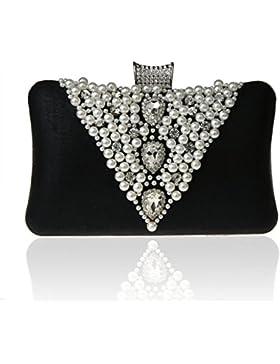 UK_Stone Handmade Modisch Damen V Stil Perlen Beaded Clutch Strassstein Party Handtasche Abendtasche