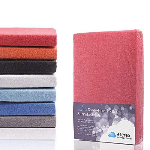 #16 Etérea Teddy Flausch Kinder-Spannbettlaken, Spannbetttuch, Bettlaken, 18 Farben, 60x120 cm - 70x140 cm, Rot