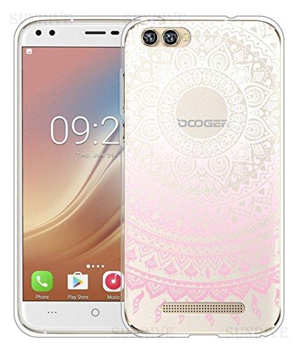 Für DOOGEE X30 Hülle Silikon,Sunrive Handyhülle Schutzhülle Etui Case Backcover für DOOGEE X30(tpu Blume rosa)+Gratis Universal Eingabestift