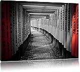 bella preghiera a piedi Giappone nero / bianco Formato: 120x80 su tela, enorme XXL Immagini completamente Pagina con la barella, stampa d'arte su murale con la struttura, più economico di pittura o pittura ad olio, nessun manifesto o poster
