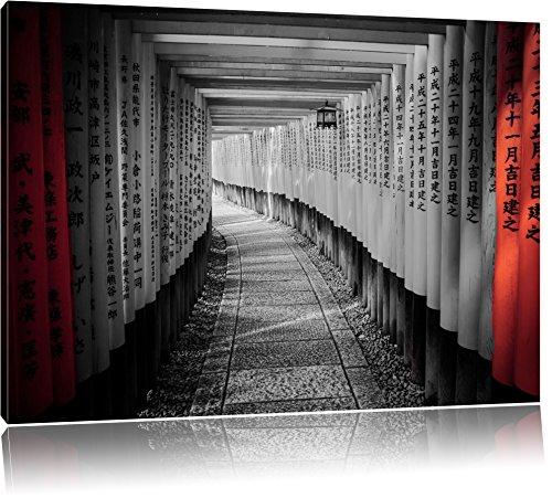 schöner Gebetsgang Japan schwarz/weiß Format: 120x80 auf Leinwand, XXL riesige Bilder fertig gerahmt mit Keilrahmen, Kunstdruck auf Wandbild mit Rahmen, günstiger als Gemälde oder Ölbild, kein Poster oder Plakat
