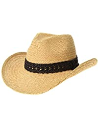 WITHMOONS Cowboy Cappello a tesa larga Western Cowboy Hat Cool Paper Straw  Banded Chin Strap GN8747 f2f9974811da