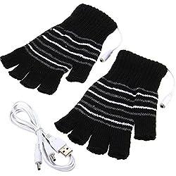 Wilotick Noir USB alimenté rayé Tricot Coton Chauffage Chauffe Gants sans Doigts Chauffe-Mains Gants moufles Ordinateur Portable