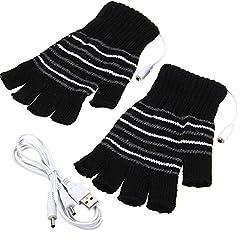 Idea Regalo - Nero USB alimentata a righe modello riscaldamento riscaldato di lana a maglia guanti Finger Los scaldamani faeustlinge Laptop Computer Guanti