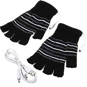 Nero USB alimentata a righe modello riscaldamento riscaldato di lana a maglia guanti Finger Los scaldamani faeustlinge Laptop Computer Guanti