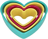 Metaltex Heart Shape Nesting Cookie Cutters in Assorted Sizes and Colours, Set of 4, Multi-Colour