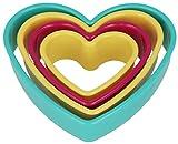 Metaltex Herz-Ausstechformen, die ineinandergesteckt werden in verschiedenen Größen und Farben, 4er-Set, mehrfarbig