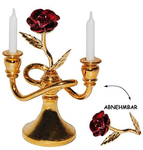 alles-meine.de GmbH 1 Stück _ Miniatur - Kerzenständer / 2 armig mit Abnehmbarer Rose - aus...