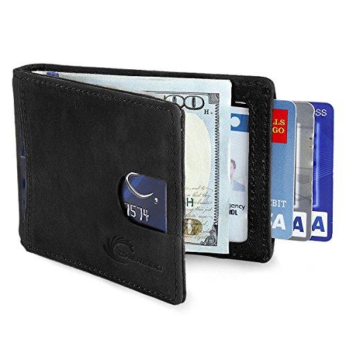 5af870d765 CHEREEKI Portafoglio Uomo con Protezione RFID, Carte di Credito con Clip  per Contanti, Porta Tessere Slim Tascabile, Pelle Portamonete Portafogli  per Carta ...