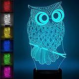 3D Illusion Nachtlampe, SUNINESS 7 Farben ändern Touch Control LED Schreibtisch Tisch Nachtlicht mit bunten USB Powered für Kinder Kinder Familie Ferienhaus Dekoration Valentinstag beste Geschenk (Eule)