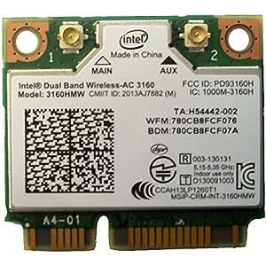INTEL Dual Band Wireless-AC 3160, 1x1 AC + BT, HMC
