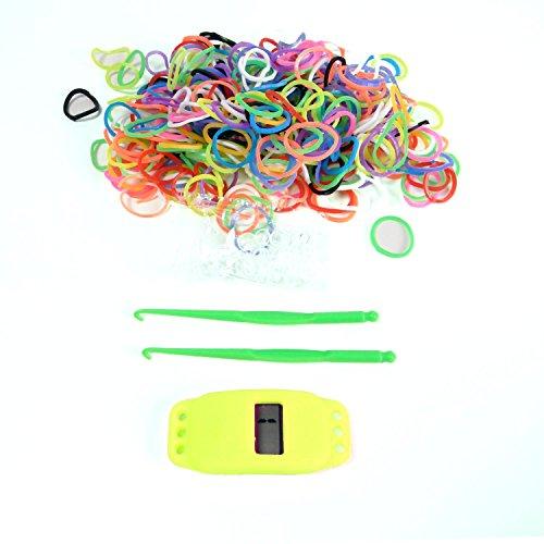 Stylische Loom Bands Digital Uhren Bunt Gummi Uhr Gummi Bänder Armbanduhr Basteln LB11 (neongelb)