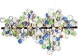 Kare Hängeleuchte Clouds Colore, Große Lampe für Wohnzimmer und Esszimmer, Pendelleuchte aus blau - grünen Glassteinen, (H/B/T) 61 x 103 x 27 cm