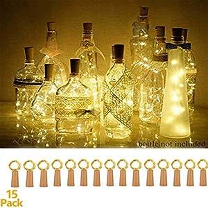 15 Stück LED Flaschenlicht, 20 LEDs 2M Lichterkette Kupferdraht batteriebetriebene Weinflasche Lichter mit Kork Schnurlicht für DIY Party Hochzeit Stimmung Lichter (Warmweiß)