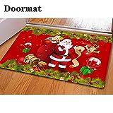 CHAQLIN - Felpudo, diseño de Navidad, 40 x 60 cm, Santa Claus-2, Rojo