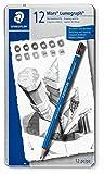 Staedtler Mars Lumograph 100 G12. Pack de 12 lápices de dibujo de distinta dureza.